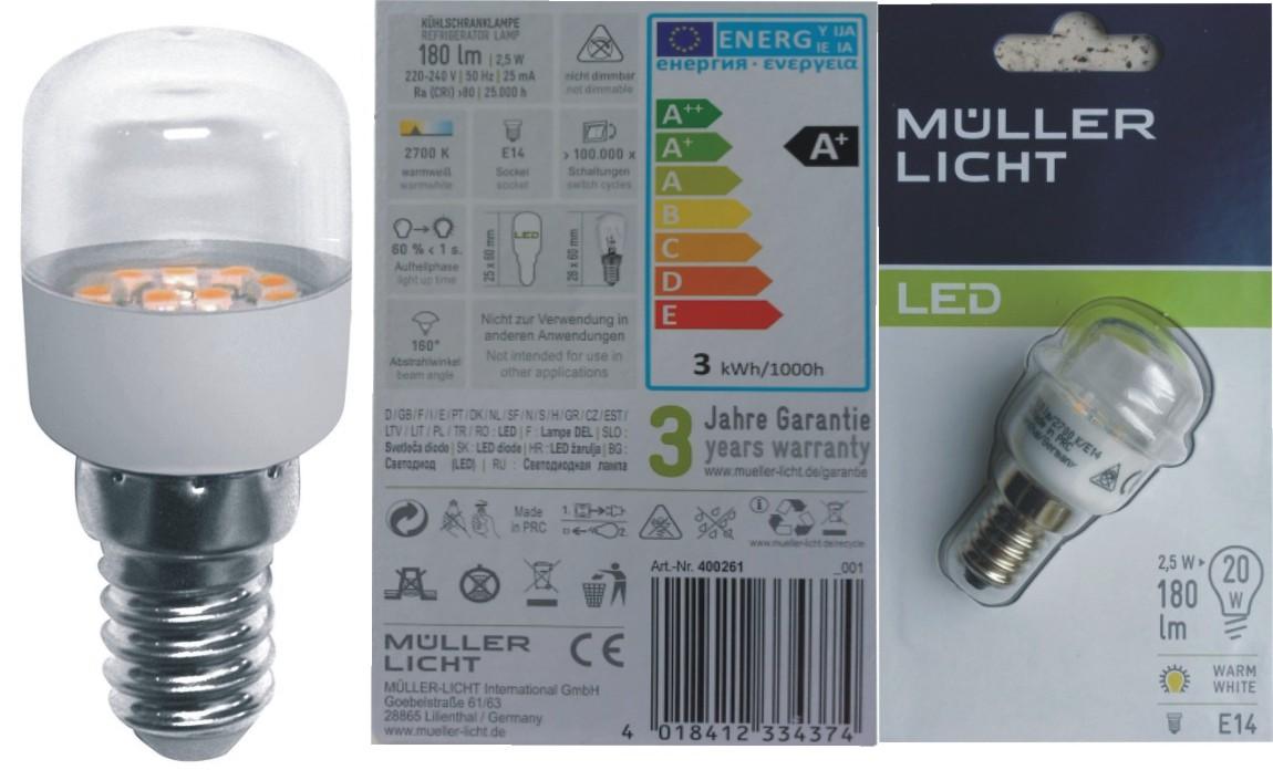 Kühlschranklampe Led : Müller licht w led kühlschranklampe e lampe für kühlschrank